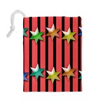 Star Christmas Greeting Drawstring Pouch (Large) Back