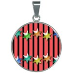 Star Christmas Greeting 30mm Round Necklace Front