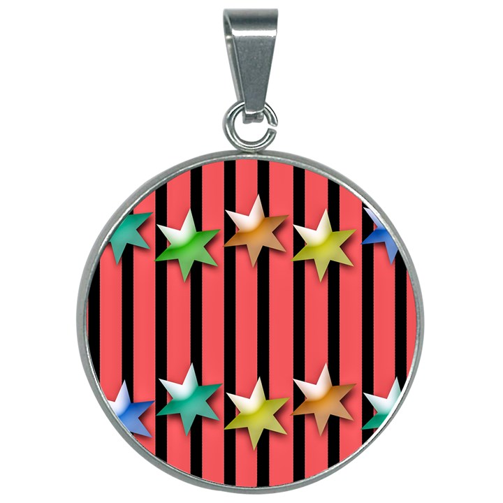 Star Christmas Greeting 30mm Round Necklace