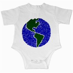 Globe Drawing Earth Ocean Infant Creepers