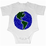 Globe Drawing Earth Ocean Infant Creepers Front