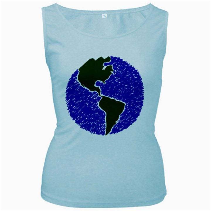 Globe Drawing Earth Ocean Women s Baby Blue Tank Top