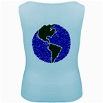 Globe Drawing Earth Ocean Women s Baby Blue Tank Top Back
