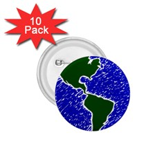 Globe Drawing Earth Ocean 1 75  Buttons (10 Pack)