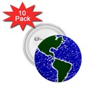Globe Drawing Earth Ocean 1.75  Buttons (10 pack) Front
