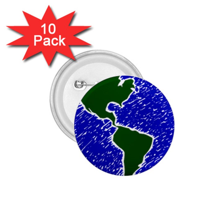 Globe Drawing Earth Ocean 1.75  Buttons (10 pack)