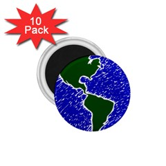 Globe Drawing Earth Ocean 1 75  Magnets (10 Pack)