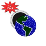 Globe Drawing Earth Ocean 1.75  Magnets (10 pack)  Front