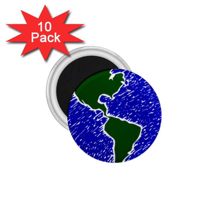 Globe Drawing Earth Ocean 1.75  Magnets (10 pack)