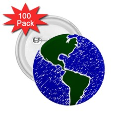Globe Drawing Earth Ocean 2 25  Buttons (100 Pack)