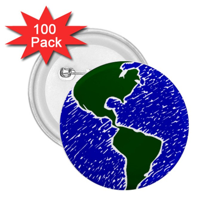Globe Drawing Earth Ocean 2.25  Buttons (100 pack)