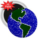 Globe Drawing Earth Ocean 3  Magnets (10 pack)  Front
