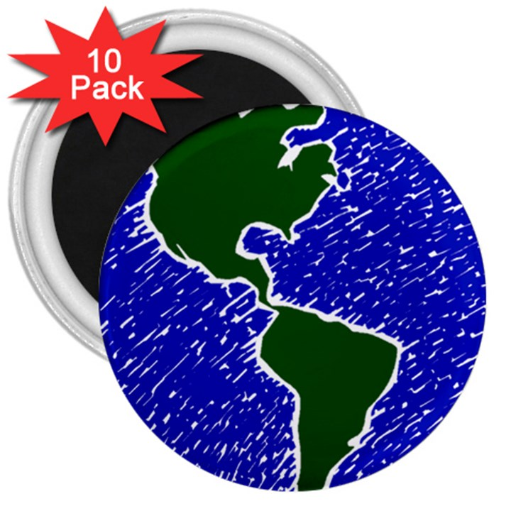Globe Drawing Earth Ocean 3  Magnets (10 pack)