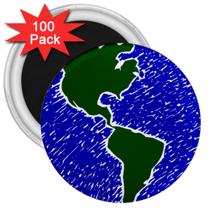 Globe Drawing Earth Ocean 3  Magnets (100 pack)