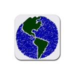 Globe Drawing Earth Ocean Rubber Coaster (Square)  Front