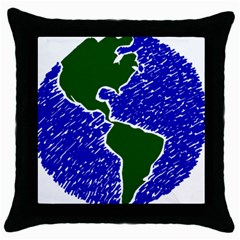 Globe Drawing Earth Ocean Throw Pillow Case (black) by HermanTelo