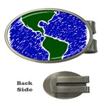 Globe Drawing Earth Ocean Money Clips (Oval)  Front