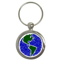 Globe Drawing Earth Ocean Key Chains (round)