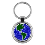 Globe Drawing Earth Ocean Key Chains (Round)  Front