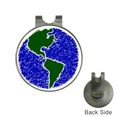 Globe Drawing Earth Ocean Hat Clips With Golf Markers by HermanTelo