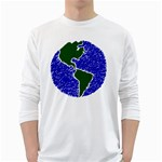 Globe Drawing Earth Ocean Long Sleeve T-Shirt Front