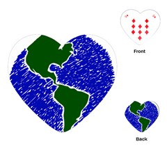 Globe Drawing Earth Ocean Playing Cards (heart) by HermanTelo