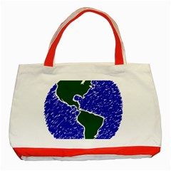 Globe Drawing Earth Ocean Classic Tote Bag (red) by HermanTelo