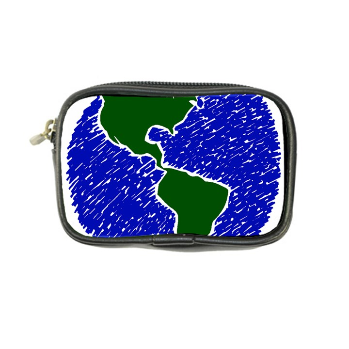 Globe Drawing Earth Ocean Coin Purse