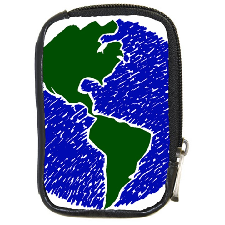 Globe Drawing Earth Ocean Compact Camera Leather Case