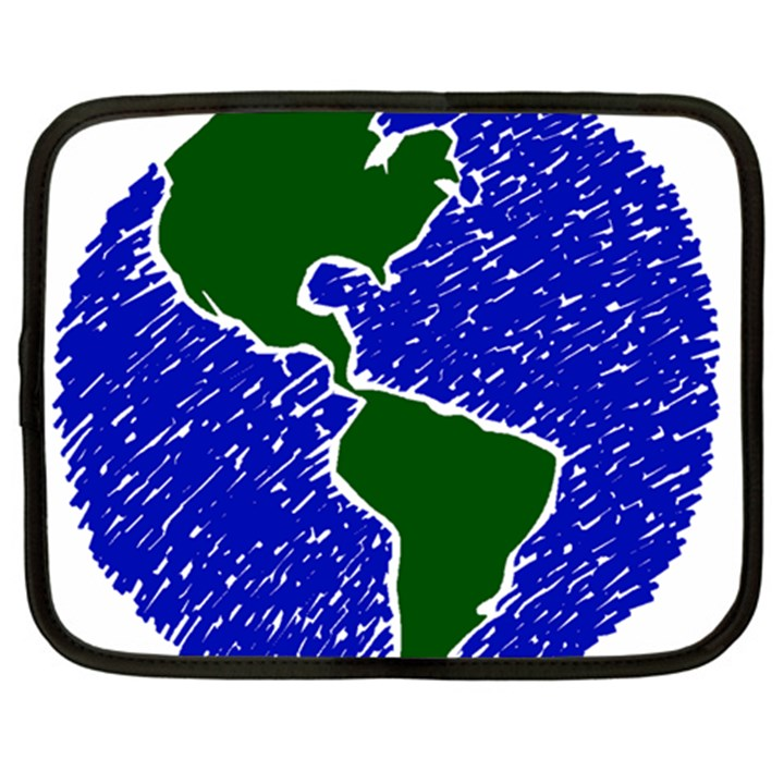 Globe Drawing Earth Ocean Netbook Case (XXL)