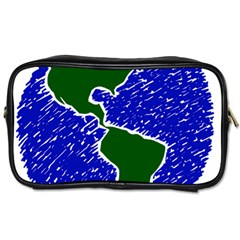 Globe Drawing Earth Ocean Toiletries Bag (one Side)