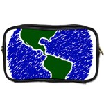 Globe Drawing Earth Ocean Toiletries Bag (One Side) Front