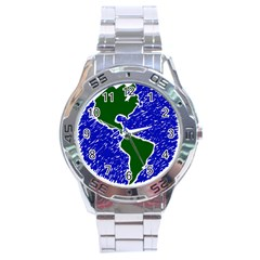 Globe Drawing Earth Ocean Stainless Steel Analogue Watch by HermanTelo
