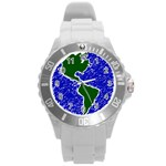 Globe Drawing Earth Ocean Round Plastic Sport Watch (L) Front