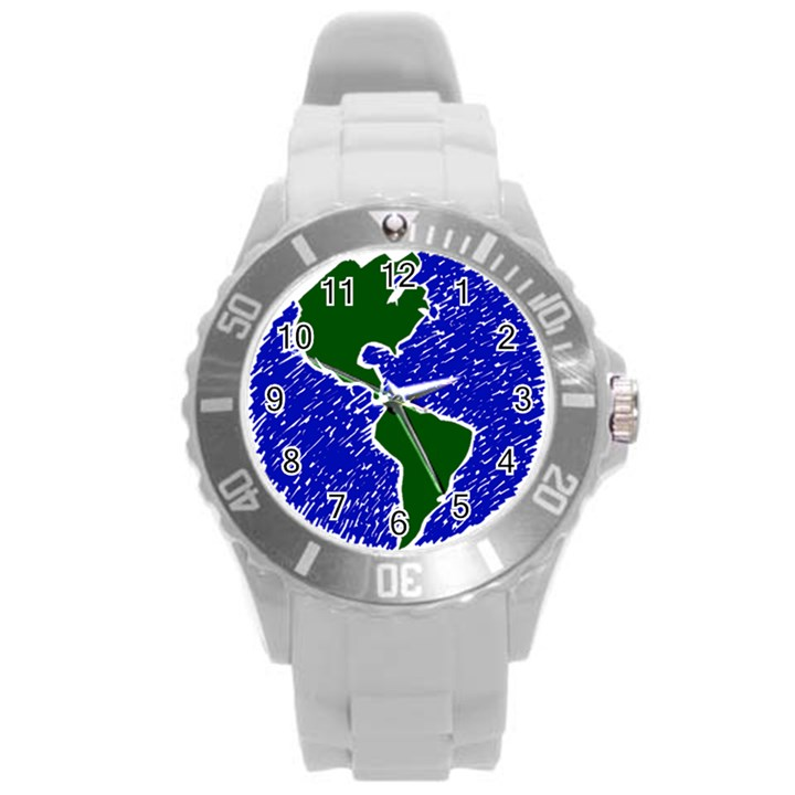 Globe Drawing Earth Ocean Round Plastic Sport Watch (L)