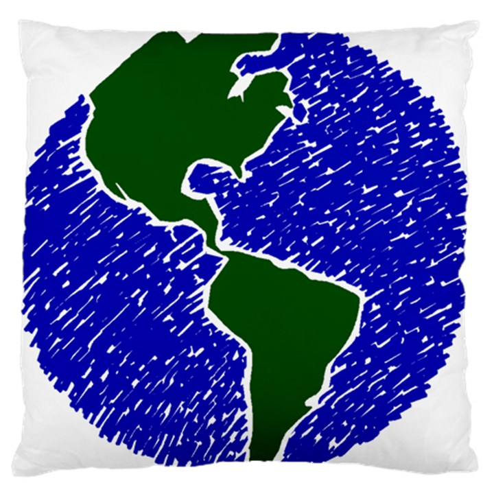 Globe Drawing Earth Ocean Large Cushion Case (Two Sides)