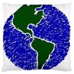 Globe Drawing Earth Ocean Large Cushion Case (Two Sides) Back