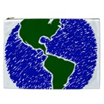 Globe Drawing Earth Ocean Cosmetic Bag (XXL) Front