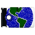 Globe Drawing Earth Ocean Apple iPad 2 Flip 360 Case Front