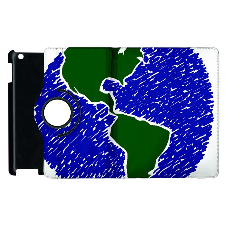 Globe Drawing Earth Ocean Apple iPad 2 Flip 360 Case