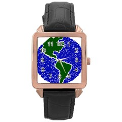 Globe Drawing Earth Ocean Rose Gold Leather Watch