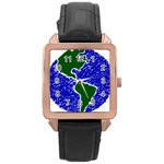 Globe Drawing Earth Ocean Rose Gold Leather Watch  Front