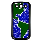 Globe Drawing Earth Ocean Samsung Galaxy S3 Back Case (Black) Front