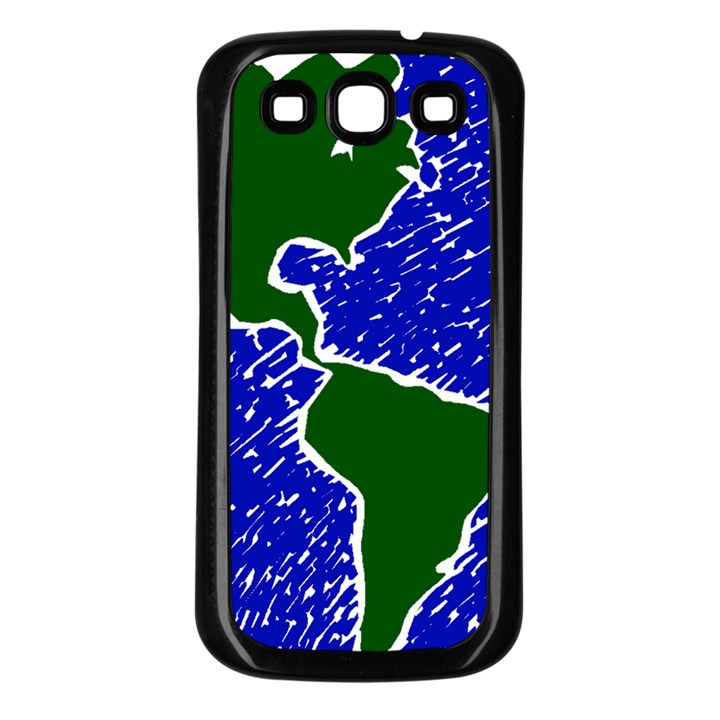Globe Drawing Earth Ocean Samsung Galaxy S3 Back Case (Black)