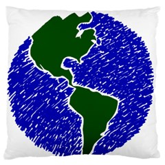 Globe Drawing Earth Ocean Large Flano Cushion Case (two Sides) by HermanTelo