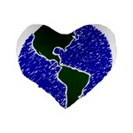 Globe Drawing Earth Ocean Standard 16  Premium Flano Heart Shape Cushions Back