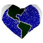 Globe Drawing Earth Ocean Large 19  Premium Flano Heart Shape Cushions Front