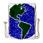 Globe Drawing Earth Ocean Drawstring Bag (Large) Front