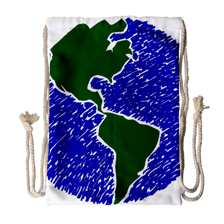 Globe Drawing Earth Ocean Drawstring Bag (Large)