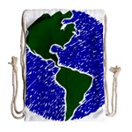 Globe Drawing Earth Ocean Drawstring Bag (Large) Back